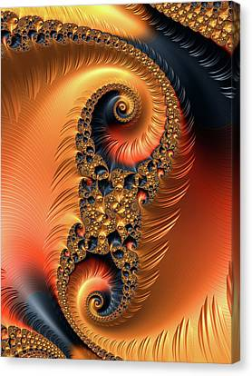 Fractal Spirals With Warm Colors Orange Coral Canvas Print