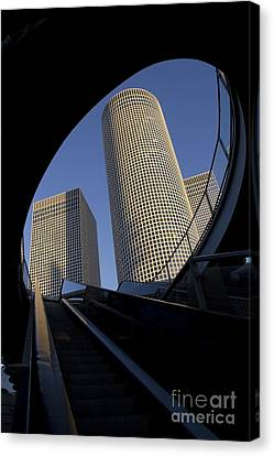 Fragment Of Modern Building Through Skywalk Bridge  Canvas Print
