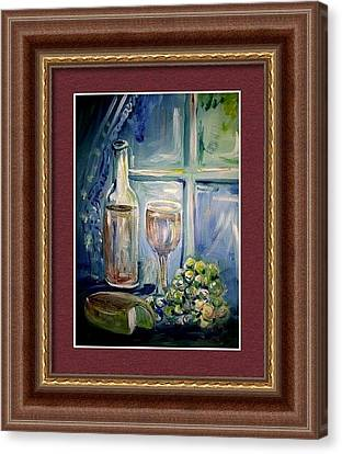 Still Life Of Wine And Grapes Canvas Print - Framed Example Of Wine Glass By The Window by Patricia Ducher