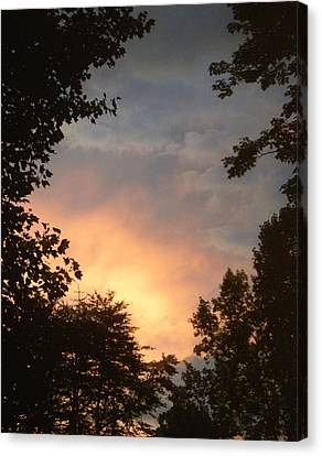 Canvas Print featuring the photograph Framed Fire In The Sky by Sandi OReilly