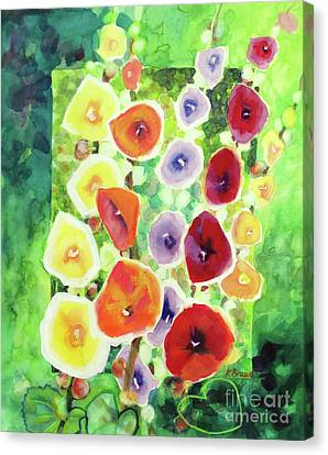 Canvas Print featuring the painting Framed In Hollyhocks by Kathy Braud