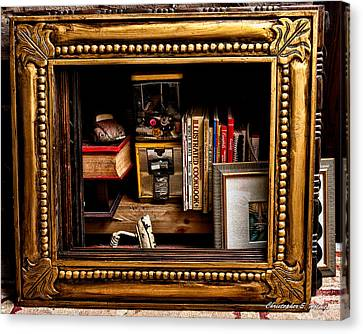Framed Odds And Ends Canvas Print by Christopher Holmes