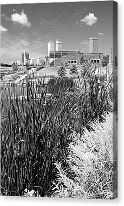 Framing The Tulsa Oklahoma Skyline - Black And White Canvas Print by Gregory Ballos