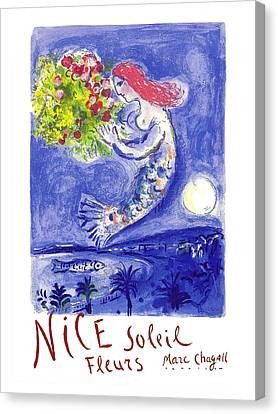 France Nice Soleil Fleurs Vintage 1961 Travel Poster By Marc Chagall Canvas Print