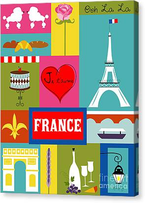 France Vertical Scene - Collage Canvas Print by Karen Young
