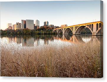 Francis Scott Key Bridge Arlington Virginia Potomac River Reflections Canvas Print by Mark VanDyke