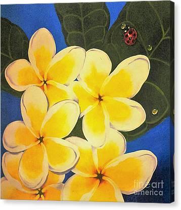 Frangipani With Lady Bug Canvas Print