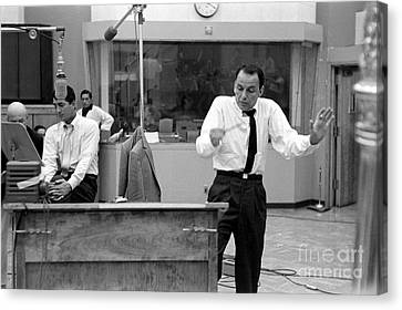 Frank Sinatra And Dean Martin At Capitol Records Studios 1958 Canvas Print by The Titanic Project