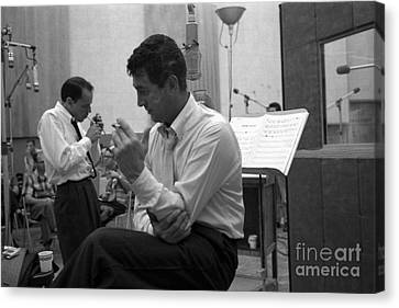 Frank Sinatra And Dean Martin At Capitol Records Studios Canvas Print by The Titanic Project