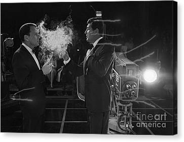 Frank Sinatra And Dean Martin On A Tv Set Canvas Print by The Titanic Project