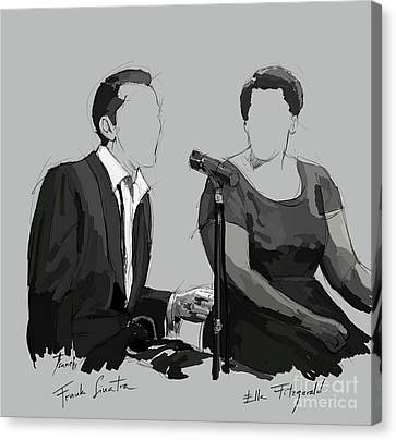 Musicos Canvas Print - Frank Sinatra And Ella Fitzerald, Good Old Fashion Jazz, Singers by Pablo Franchi