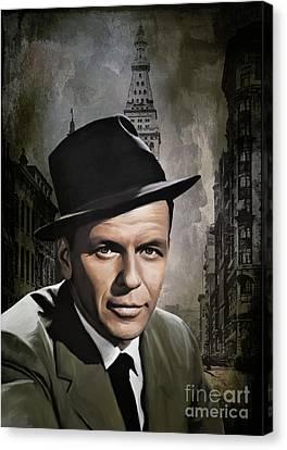 Canvas Print featuring the painting  Frank Sinatra by Andrzej Szczerski