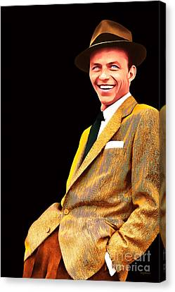 Old Blue Eyes Canvas Print - Frank Sinatra Old Blue Eyes 20160922v2 by Wingsdomain Art and Photography