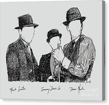 Musicos Canvas Print - Frank Sinatra, Sammy Davis Jr And Dean Martin, A Part Of The Rat Pack by Pablo Franchi