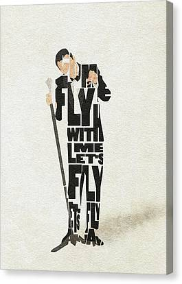 Canvas Print featuring the painting Frank Sinatra Typography Art by Inspirowl Design