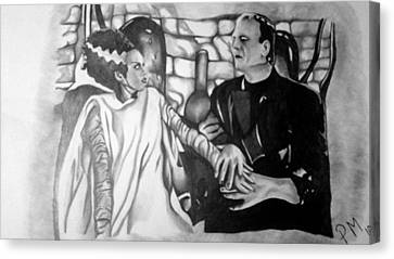 Frankenstein And His Bride Canvas Print by Pauline Murphy