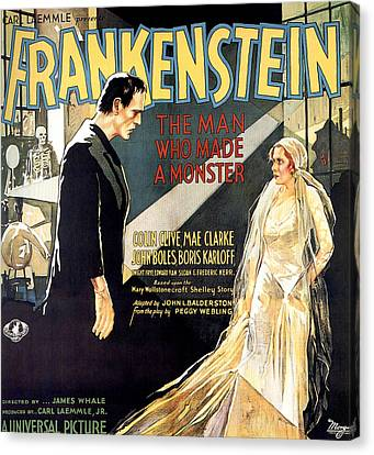 Horror Fantasy Movies Canvas Print - Frankenstein, Boris Karloff, Mae Clarke by Everett