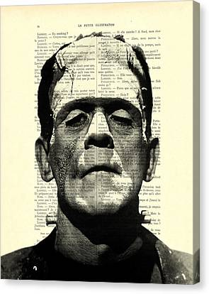 Frankenstein On Dictionary Page Canvas Print