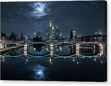 Frankfurt At Full Moon Canvas Print by Mike