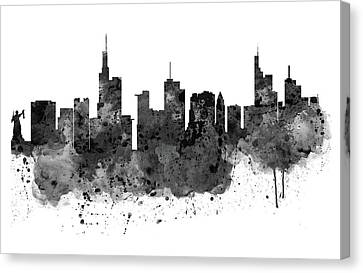 Frankfurt Black And White Skyline Canvas Print by Marian Voicu