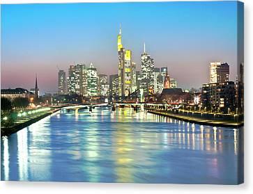 Frankfurt  Night Skyline Canvas Print by Ixefra