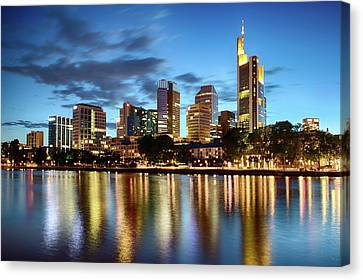 Canvas Print - Frankfurt Skyline At Night by Marc Huebner
