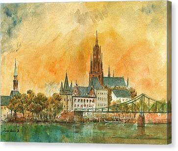 Frankfurt Watercolor Canvas Print by Juan  Bosco