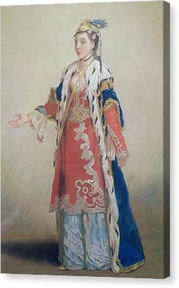 Frankish Woman From Pera  Constantinople Canvas Print by Jean-Etienne Liotard