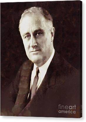 Franklin Delano Roosevelt, President United States By Sarah Kirk Canvas Print by Sarah Kirk
