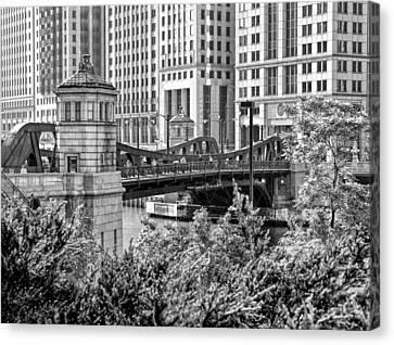 Chicago River Canvas Print - Franklin Street Bridge Black And White by Christopher Arndt