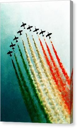 Frecce Tricolori Canvas Print by Andrea Barbieri