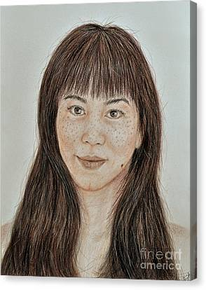 Freckle Faced Asian Beauty With Bangs  Canvas Print by Jim Fitzpatrick