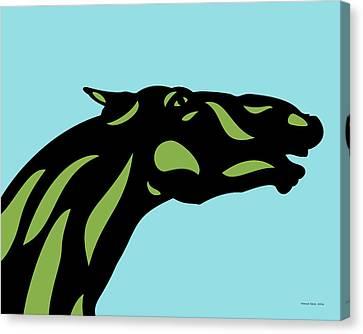 Canvas Print featuring the digital art Fred - Pop Art Horse - Black, Greenery, Island Paradise Blue by Manuel Sueess