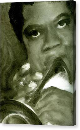 Canvas Print featuring the painting Freddie Hubbard by FeatherStone Studio Julie A Miller