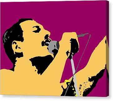 Singing Canvas Print - Freddie Mercury by Paul Van Scott