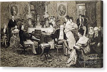 Frederic Chopin Playing In The Salon Of The Musician And Composer Prince Anthony Radziwill Canvas Print by Hendrik Siemiradzki