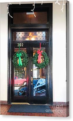 Fredricksburg Door Decorated For Christmas Canvas Print