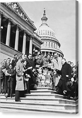 Free Books For Congress Canvas Print by Underwood Archives