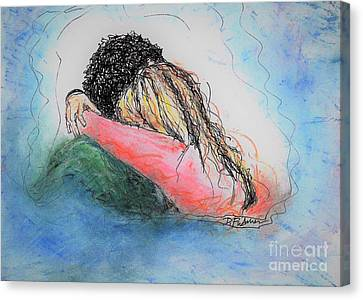 Canvas Print featuring the mixed media Free Hugs by Denise Fulmer