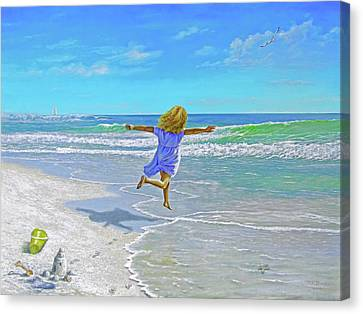 Free On Sand And Sea Canvas Print by Reb Benno