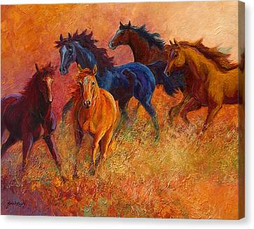 Free Range - Wild Horses Canvas Print by Marion Rose