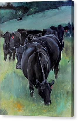 Free Range Cow Girls Canvas Print