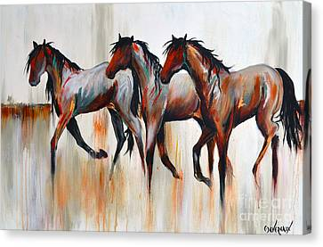 Canvas Print featuring the painting Free Spirits by Cher Devereaux