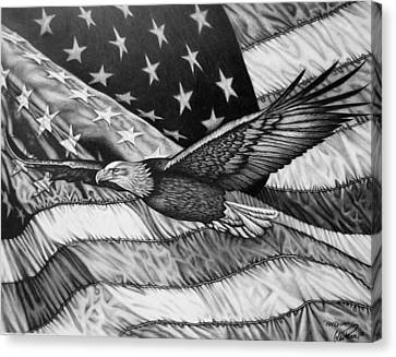 Eagle And Flag Canvas Print - Freedom by Glen Powell