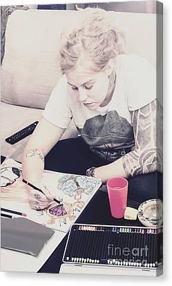 Working Women Canvas Print - Freelance Artist Designing Intricate Illustration by Jorgo Photography - Wall Art Gallery
