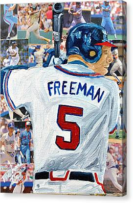 Freeman At Bat Canvas Print by Michael Lee