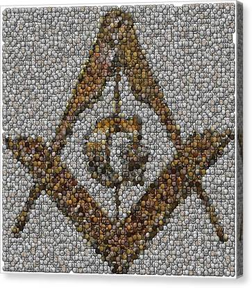 Freemason Coin Mosaic Canvas Print
