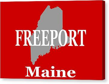 Canvas Print featuring the photograph Freeport Maine State City And Town Pride  by Keith Webber Jr
