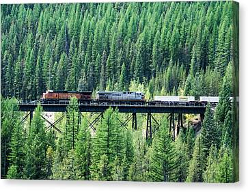 Freight Over A Trestle In Montana Canvas Print by Mick Anderson