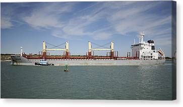 Canvas Print featuring the photograph Freighter Heading To Port by Bradford Martin